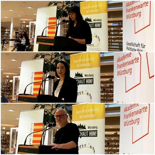 Bild:Zu Beginn der Veranstaltung sprachen und lasen: (v.o.) Molina Klinger, Hülya Düber und Stefan Lutz-Simon